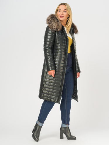 Кожаное пальто эко-кожа 100% П/А, цвет черный, арт. 18108839  - цена 14990 руб.  - магазин TOTOGROUP