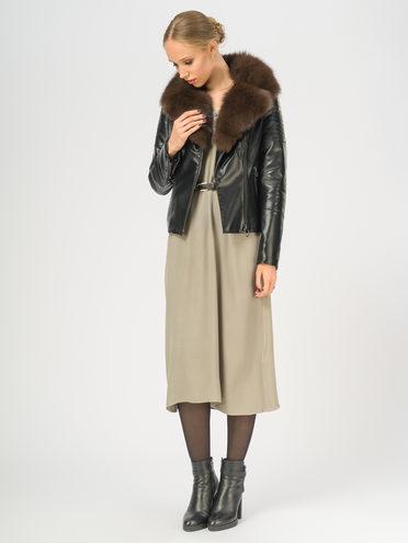 Кожаная куртка эко-кожа корова, цвет черный, арт. 18108840  - цена 14190 руб.  - магазин TOTOGROUP