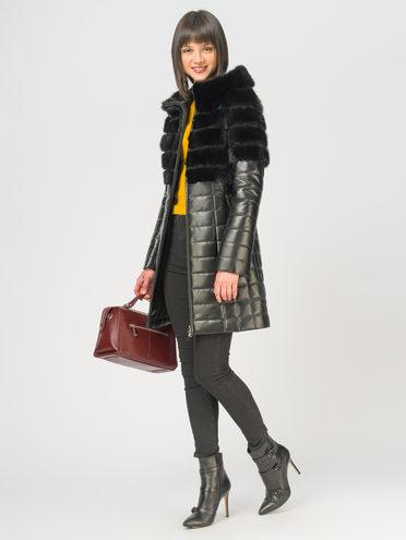 Кожаное пальто кожа, цвет черный, арт. 18108930  - цена 35990 руб.  - магазин TOTOGROUP