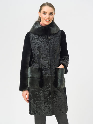 Шуба из мутона мех мутон, цвет черный, арт. 18108973  - цена 44990 руб.  - магазин TOTOGROUP