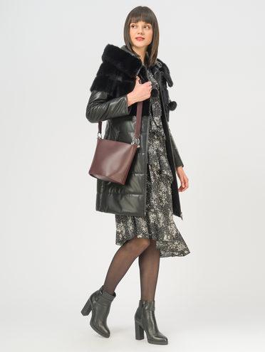 Кожаное пальто эко-кожа 100% П/А, цвет черный, арт. 18108997  - цена 16990 руб.  - магазин TOTOGROUP