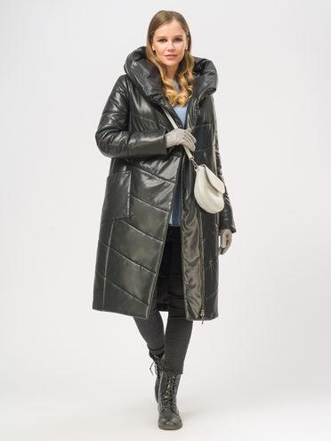Кожаное пальто эко-кожа 100% П/А, цвет черный, арт. 18109019  - цена 7490 руб.  - магазин TOTOGROUP