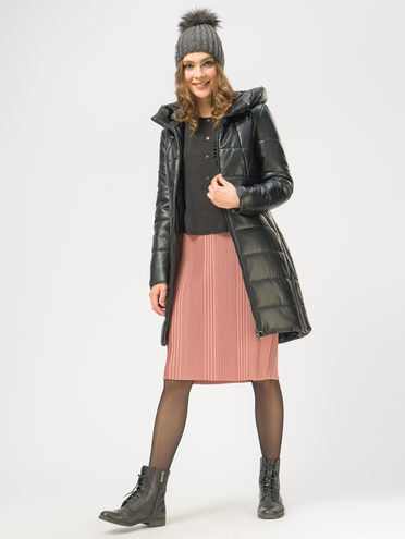 Кожаное пальто эко-кожа 100% П/А, цвет черный, арт. 18109078  - цена 6290 руб.  - магазин TOTOGROUP