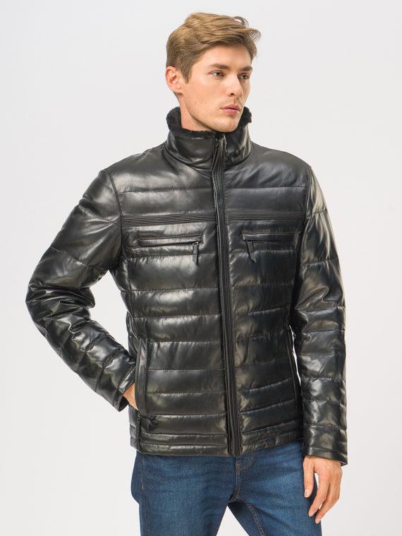 Кожаная куртка кожа, цвет черный, арт. 18109104  - цена 15990 руб.  - магазин TOTOGROUP