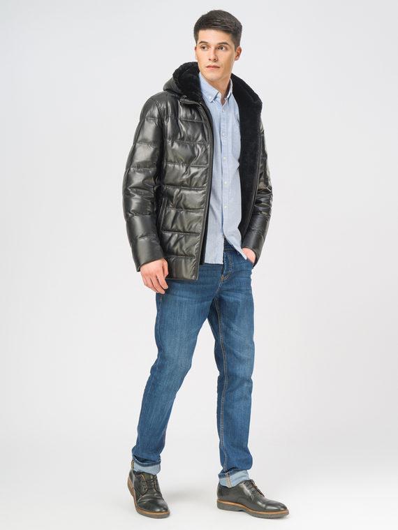 Кожаная куртка кожа, цвет черный, арт. 18109105  - цена 22690 руб.  - магазин TOTOGROUP