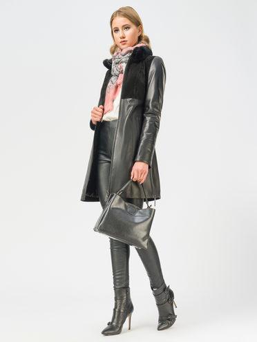 Кожаное пальто кожа, цвет черный, арт. 18109139  - цена 19990 руб.  - магазин TOTOGROUP