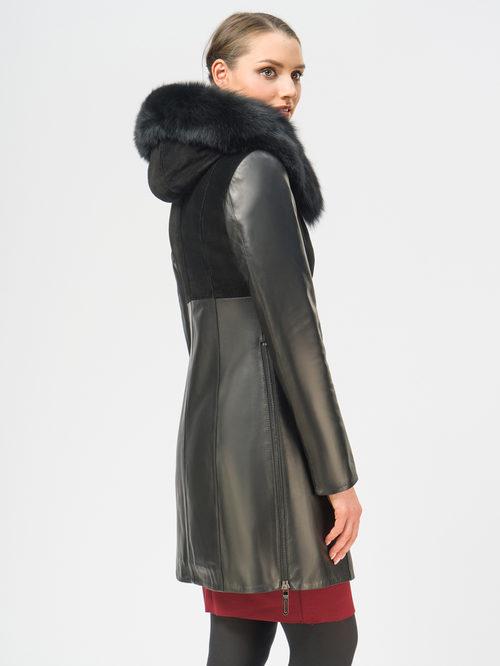Кожаное пальто артикул 18109140/44 - фото 3