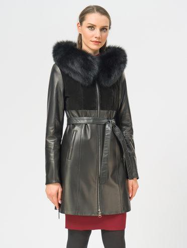 Кожаное пальто кожа, цвет черный, арт. 18109140  - цена 16990 руб.  - магазин TOTOGROUP