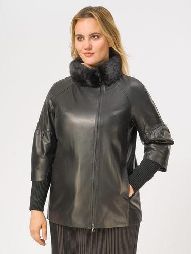 Кожаная куртка кожа, цвет черный, арт. 18109144  - цена 17990 руб.  - магазин TOTOGROUP
