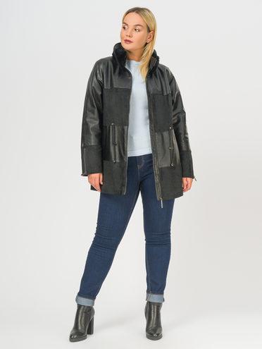 Кожаное пальто эко-кожа 100% П/А, цвет черный, арт. 18109152  - цена 9990 руб.  - магазин TOTOGROUP
