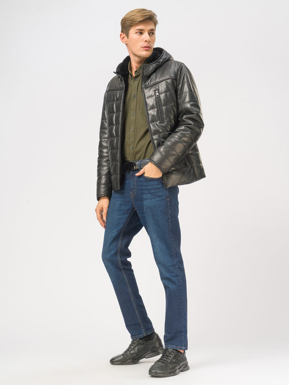 Кожаная куртка кожа, цвет черный, арт. 18109167  - цена 21290 руб.  - магазин TOTOGROUP