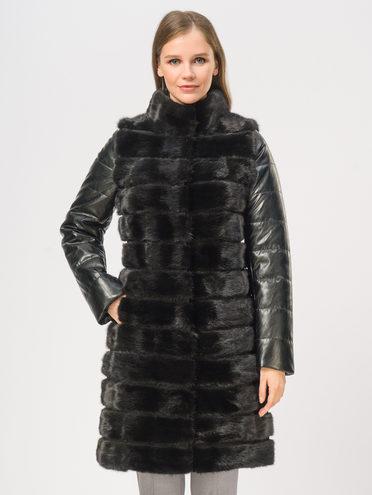 Кожаное пальто мех норка крашен., цвет черный, арт. 18109273  - цена 25590 руб.  - магазин TOTOGROUP