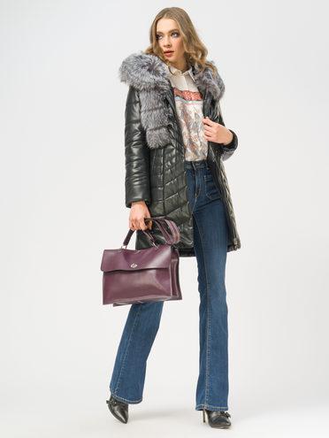 Кожаное пальто эко-кожа 100% П/А, цвет черный, арт. 18109296  - цена 10590 руб.  - магазин TOTOGROUP