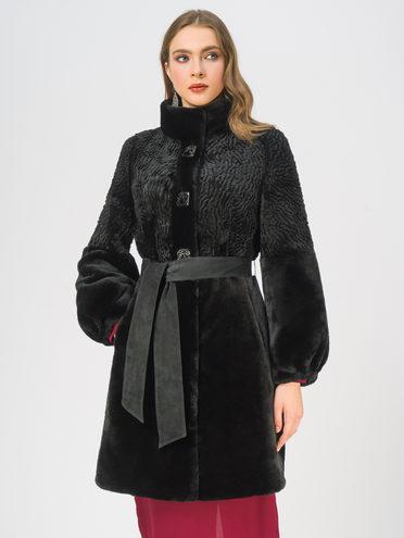 Шуба из мутона мех мутон, цвет черный, арт. 18109319  - цена 25590 руб.  - магазин TOTOGROUP