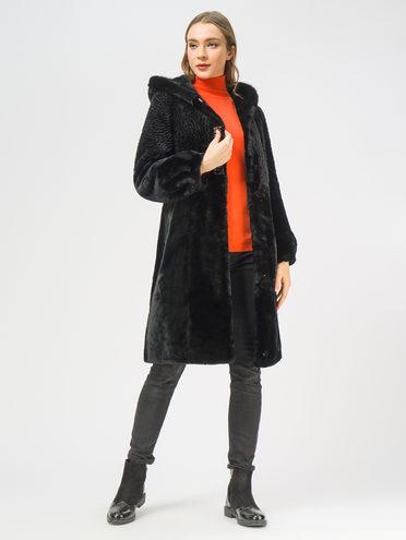 Шуба из мутона мех мутон, цвет черный, арт. 18109320  - цена 25590 руб.  - магазин TOTOGROUP