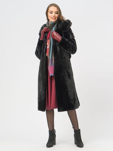 Шуба из мутона мех овчина крашен., цвет черный, арт. 18109321  - цена 35990 руб.  - магазин TOTOGROUP