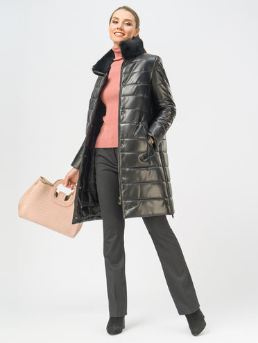 Кожаное пальто кожа, цвет черный, арт. 18109365  - цена 19990 руб.  - магазин TOTOGROUP