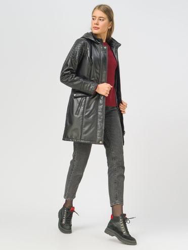 Кожаное пальто кожа, цвет черный, арт. 18109533  - цена 11990 руб.  - магазин TOTOGROUP