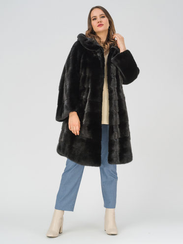 Шуба из норки мех норка, цвет черный, арт. 18109744  - цена 112990 руб.  - магазин TOTOGROUP
