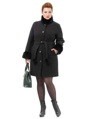 Текстильное пальто 30%шерсть, 70% п\а, цвет черный, арт. 18501766  - цена 5997 руб.  - магазин TOTOGROUP