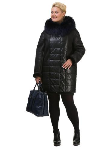 Дубленка эко кожа 100% П/А, цвет черный, арт. 18602505  - цена 8490 руб.  - магазин TOTOGROUP