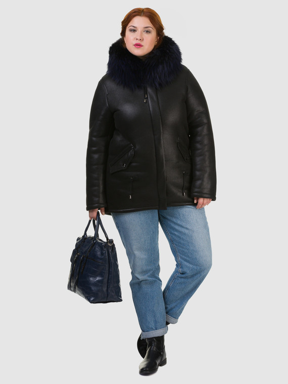 Дубленка эко кожа 100% П/А, цвет черный, арт. 18602508  - цена 8490 руб.  - магазин TOTOGROUP