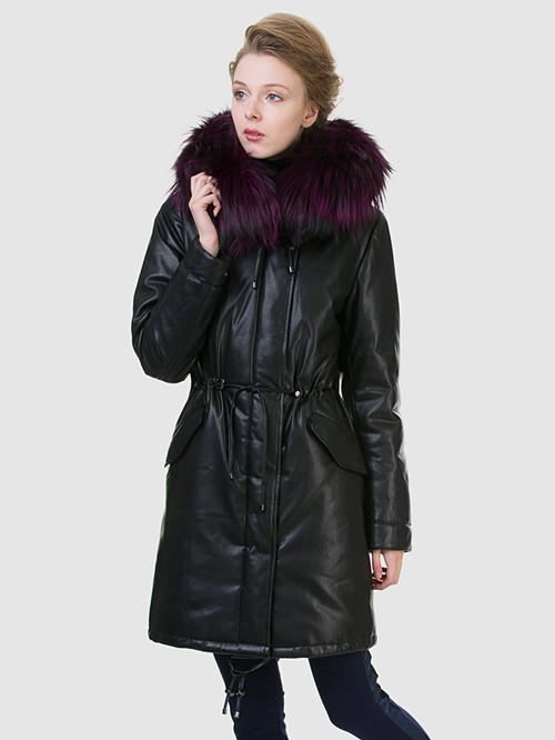 Кожаное пальто артикул 18602540/44 - фото 2