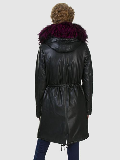 Кожаное пальто артикул 18602540/44 - фото 3