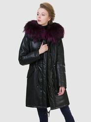 Кожаное пальто артикул 18602540/44 - фото 4