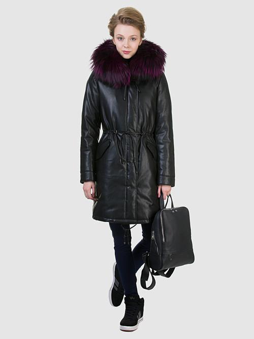 Кожаное пальто артикул 18602540/44