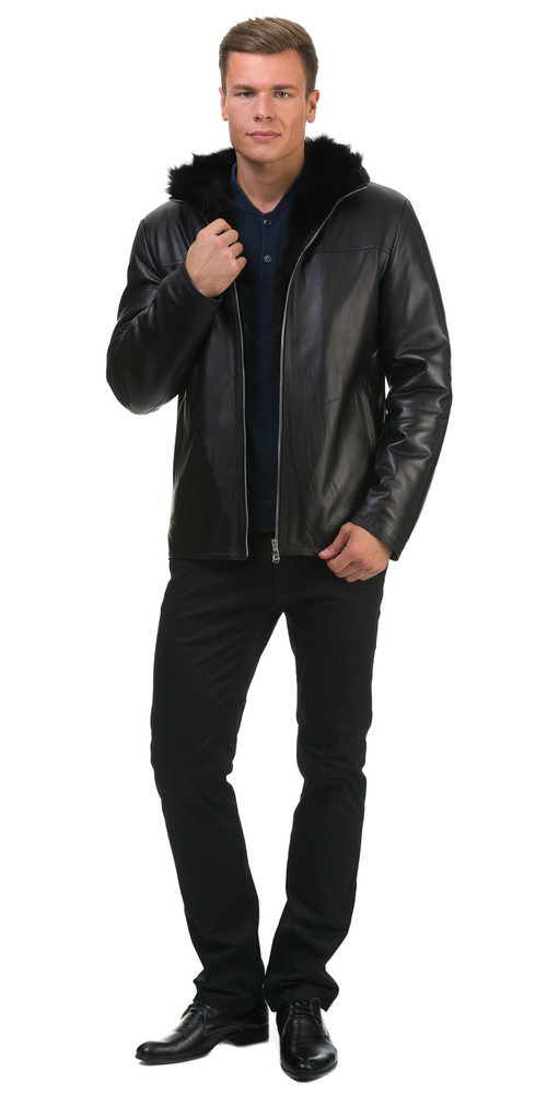 Кожаная куртка артикул 18602624/46 - фото 5