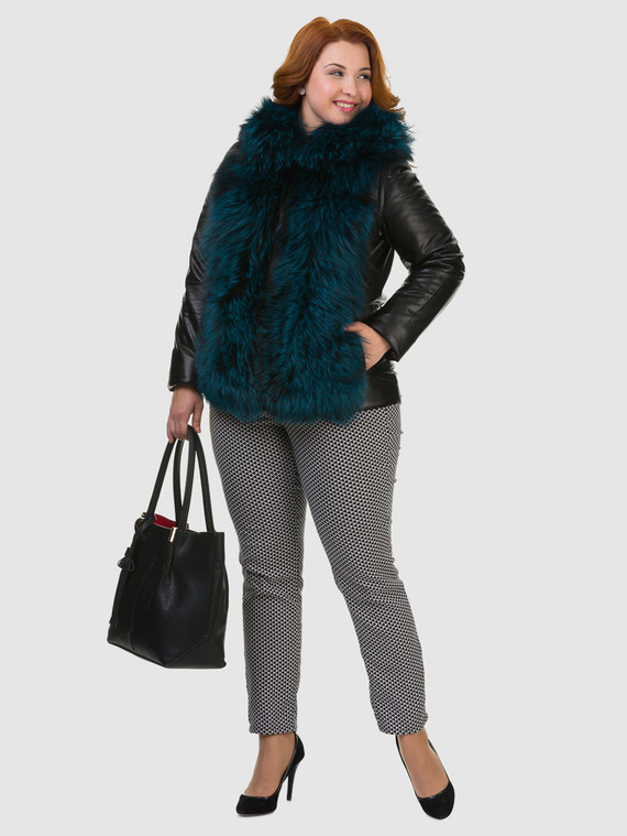 Кожаная куртка эко кожа 100% П/А, цвет черный, арт. 18602728  - цена 11290 руб.  - магазин TOTOGROUP