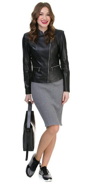 Кожаная куртка кожа овца, цвет черный, арт. 18700024  - цена 9990 руб.  - магазин TOTOGROUP