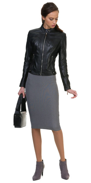 Кожаная куртка кожа овца, цвет черный, арт. 18700025  - цена 8990 руб.  - магазин TOTOGROUP