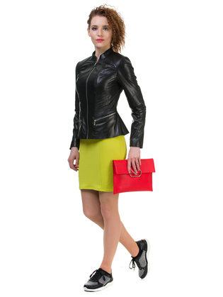Кожаная куртка кожа овца, цвет черный, арт. 18700043  - цена 6990 руб.  - магазин TOTOGROUP