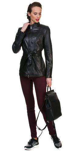 Кожаная куртка кожа овца, цвет черный, арт. 18700049  - цена 12990 руб.  - магазин TOTOGROUP