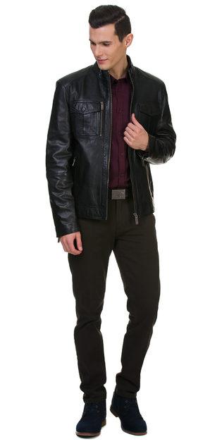 Кожаная куртка кожа овца, цвет черный, арт. 18700059  - цена 13990 руб.  - магазин TOTOGROUP