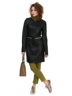Кожаное пальто эко кожа 100% П/А, цвет черный, арт. 18700122  - цена 11990 руб.  - магазин TOTOGROUP