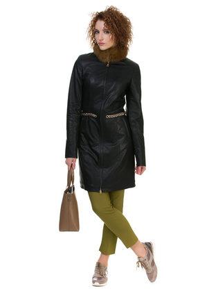 Кожаное пальто эко кожа 100% П/А, цвет черный, арт. 18700122  - цена 5590 руб.  - магазин TOTOGROUP