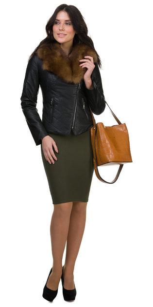 Кожаная куртка эко кожа 100% П/А, цвет черный, арт. 18700127  - цена 11990 руб.  - магазин TOTOGROUP