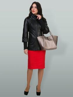 Кожаная куртка кожа овца, цвет черный, арт. 18700134  - цена 13390 руб.  - магазин TOTOGROUP