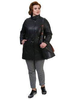 Кожаное пальто кожа баран, цвет черный, арт. 18700143  - цена 21990 руб.  - магазин TOTOGROUP