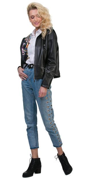 Кожаная куртка кожа баран, цвет черный, арт. 18700146  - цена 13990 руб.  - магазин TOTOGROUP