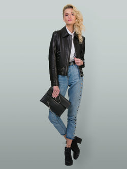 Кожаная куртка кожа баран, цвет черный, арт. 18700147  - цена 18990 руб.  - магазин TOTOGROUP