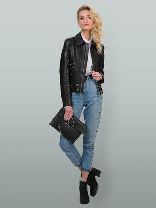 Кожаная куртка кожа баран, цвет черный, арт. 18700147  - цена 13390 руб.  - магазин TOTOGROUP
