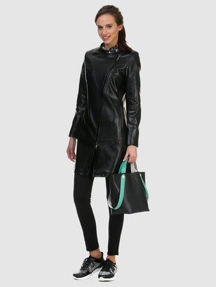 Кожаное пальто эко кожа 100% П/А, цвет черный, арт. 18700151  - цена 6630 руб.  - магазин TOTOGROUP