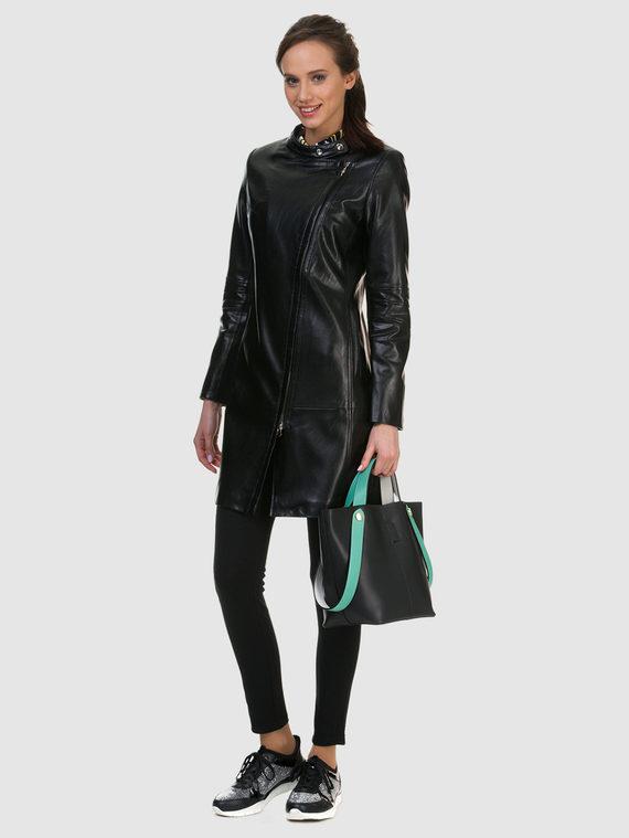 Кожаное пальто эко кожа 100% П/А, цвет черный, арт. 18700151  - цена 3790 руб.  - магазин TOTOGROUP