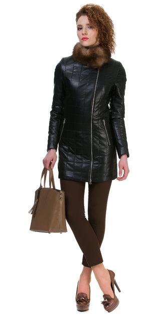 Кожаное пальто эко кожа 100% П/А, цвет черный, арт. 18700152  - цена 5290 руб.  - магазин TOTOGROUP