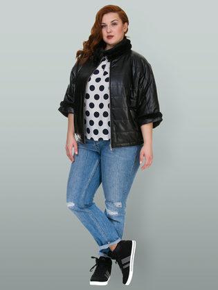 Кожаная куртка эко кожа 100% П/А, цвет черный, арт. 18700157  - цена 6990 руб.  - магазин TOTOGROUP