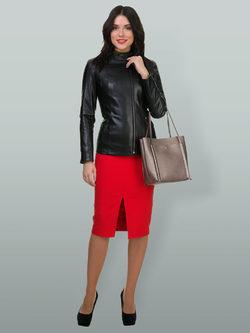 Кожаная куртка эко кожа 100% П/А, цвет черный, арт. 18700159  - цена 7490 руб.  - магазин TOTOGROUP